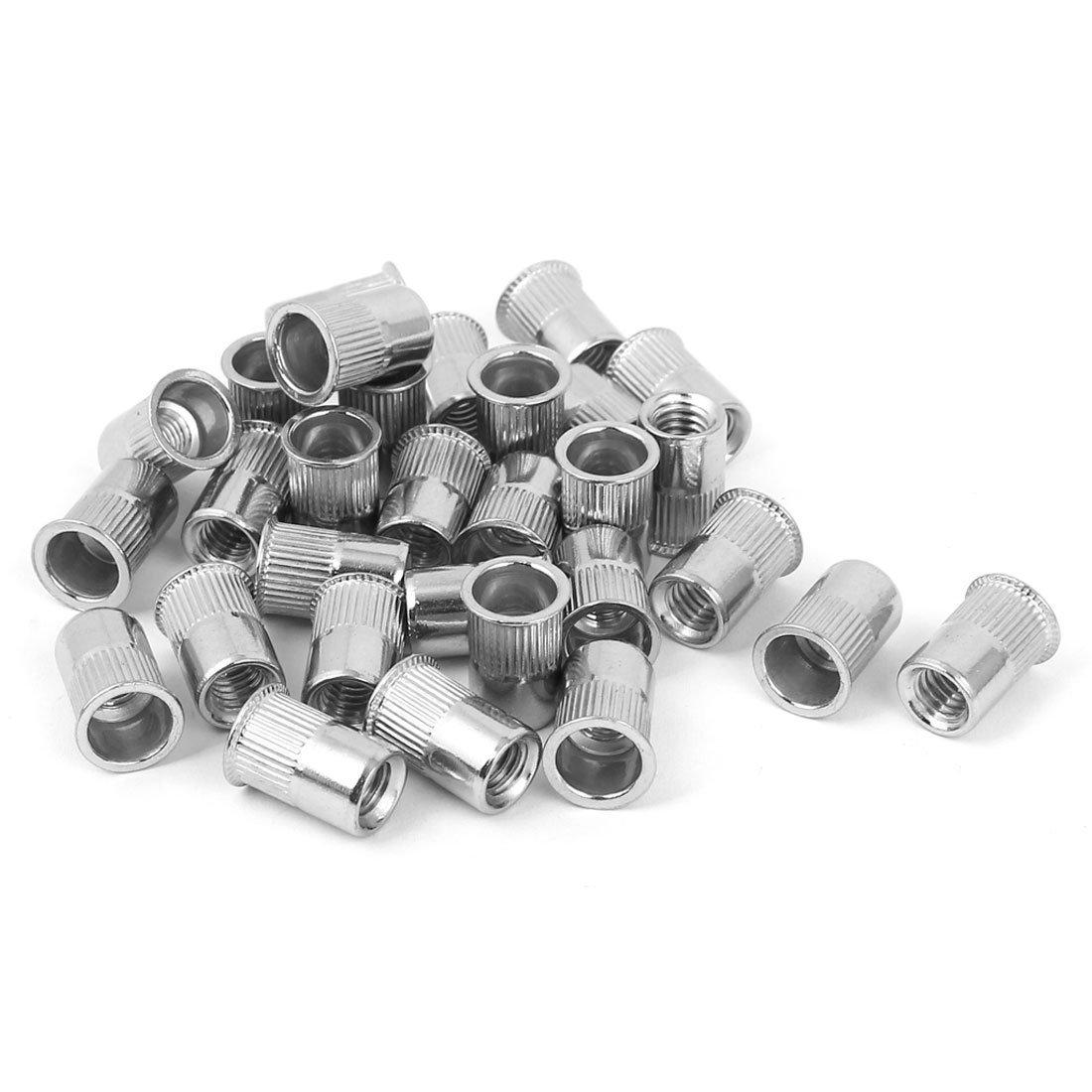 URBEST 304 Stainless Steel Rivet Nut Flat Head Insert Nutsert Knurled Body Blind Rivnut Assortment 50Pcs M6x15mm