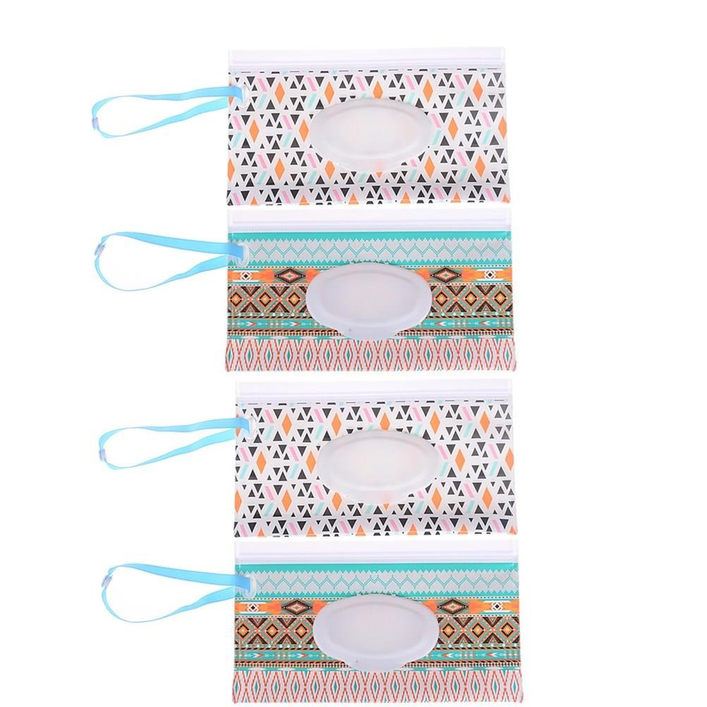 8 Assorted Styles No Wipes in It 8 Pieces Wet Wipe Pouch Baby Wipe Case Holder Dispenser Refillable Moist Diaper Wet Wipe Clutch Strap Bag Wipes Container