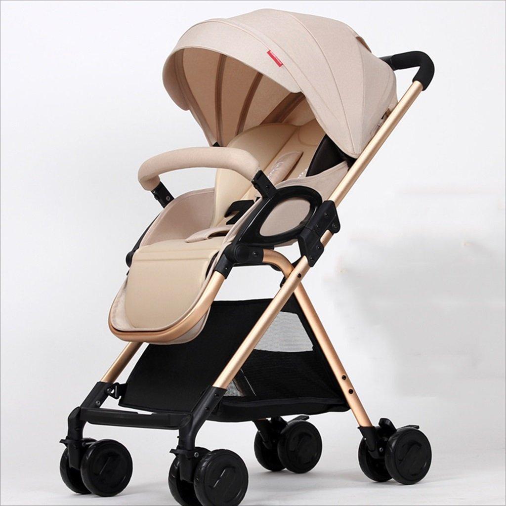 新生児の赤ちゃんキャリッジ折りたたみ可能な座って、1ヶ月の赤ちゃんをダンピングすることができます3歳の赤ちゃんの4つの車輪トロリー目覚め (色 : カーキ) B07DVMPR48 カーキ カーキ