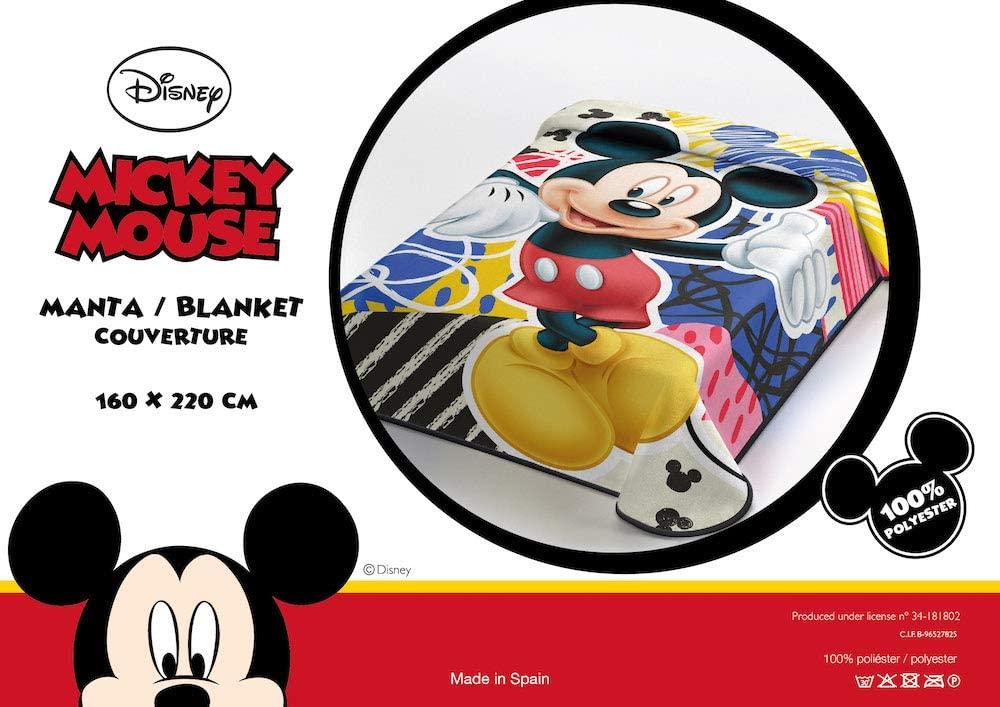 OEKO-TEX Manta Terciopelo Disney Modelo: Mickey Mouse, Color: ÚNICO, Medida: 160x220 (Ideal para Cama de 90cm.)