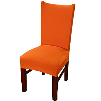 Knit Spandex Fabric Stretch Dining Room Chair Slipcovers Set Of 4 Orange