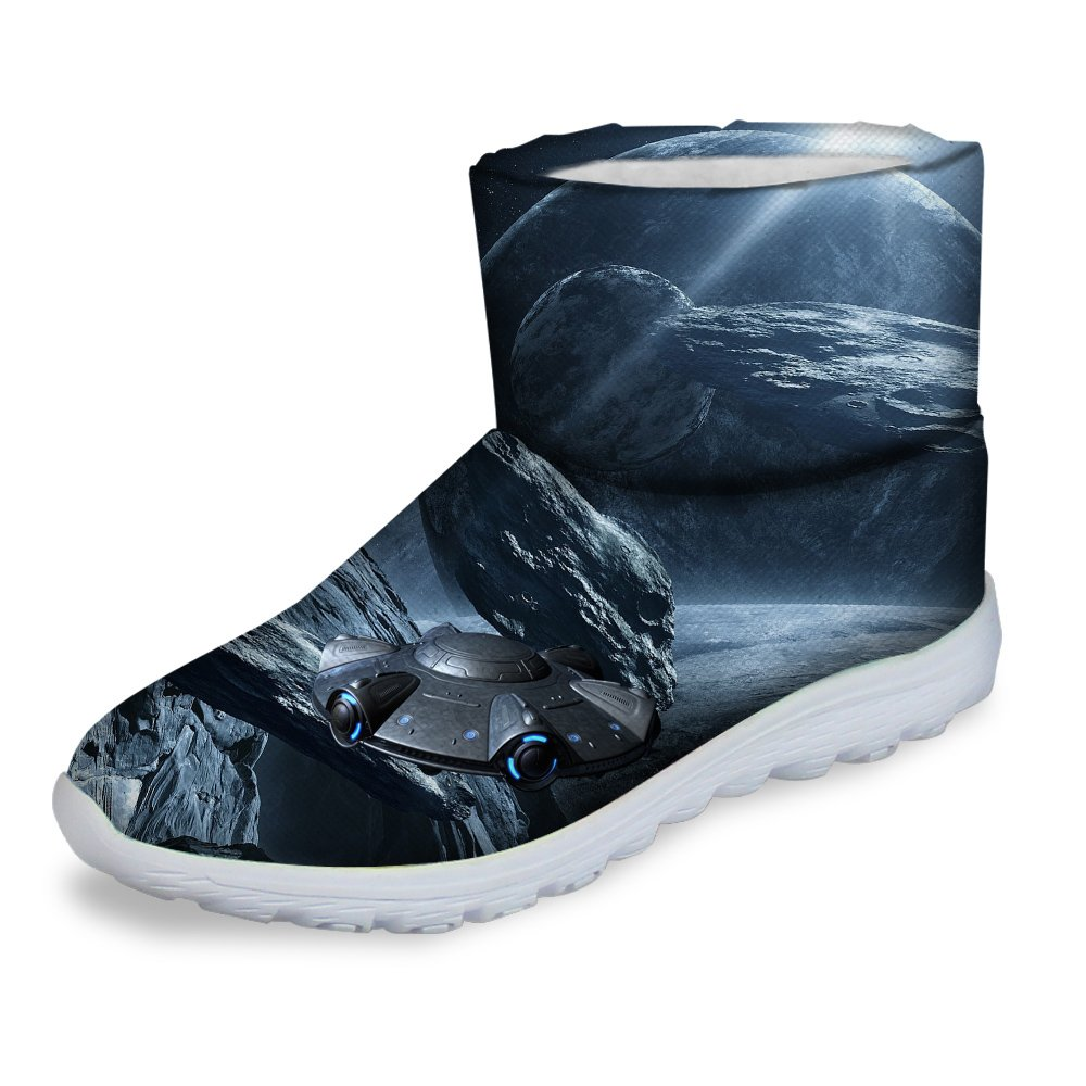 Warm Winter Short Snow Boot with Space Galaxy Pattern Waterproof