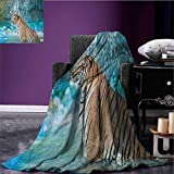Tiger park blanket Feline Beast in Pond Searching for Prey Sumatra Indonesia Scenes soft blanket Turquoise Pale Brown Black size:59''x35.5''