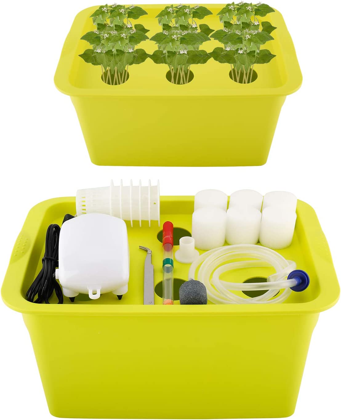 Homend Indoor Hydroponic Grow Kit with Bubble Stone, 6 Plant Sites (Holes) Bucket,Buoy,Air Pump, Planting Sponges - Best Indoor Herb Garden for Plants - Grow Fast at Home (Green)