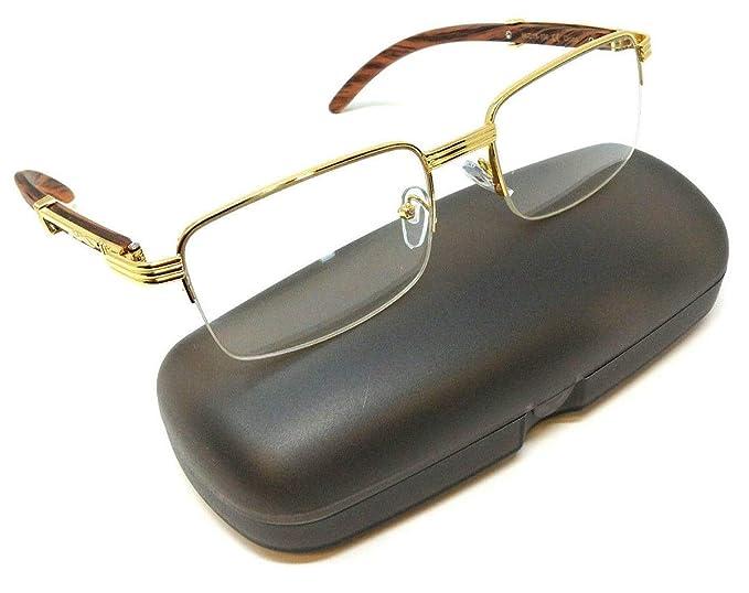 Amazon.com: Gafas de sol rectangulares de metal y madera con ...