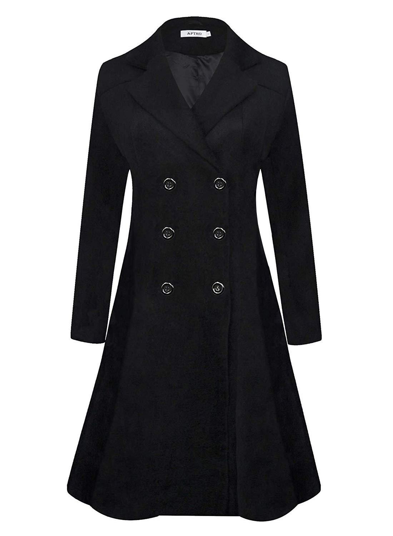 Women's Winter Long Wool Dress Coat Double Breasted Vintage Coat WS02 Black M by APTRO
