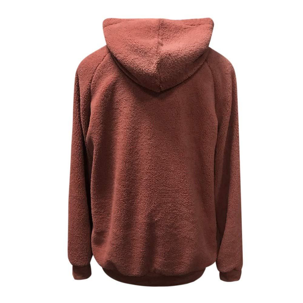 WM /& MW Fashion Womens Hooded Coat Winter Warm Solid Pocket Fleece Sweatshirt Hoodie Pullover Tops Outwear