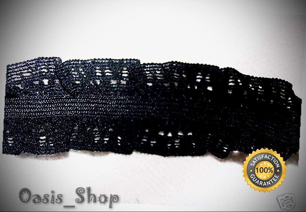 """5 yards sewing STRETCH black mesh ruffle elastic trim 1//2/"""" wide"""