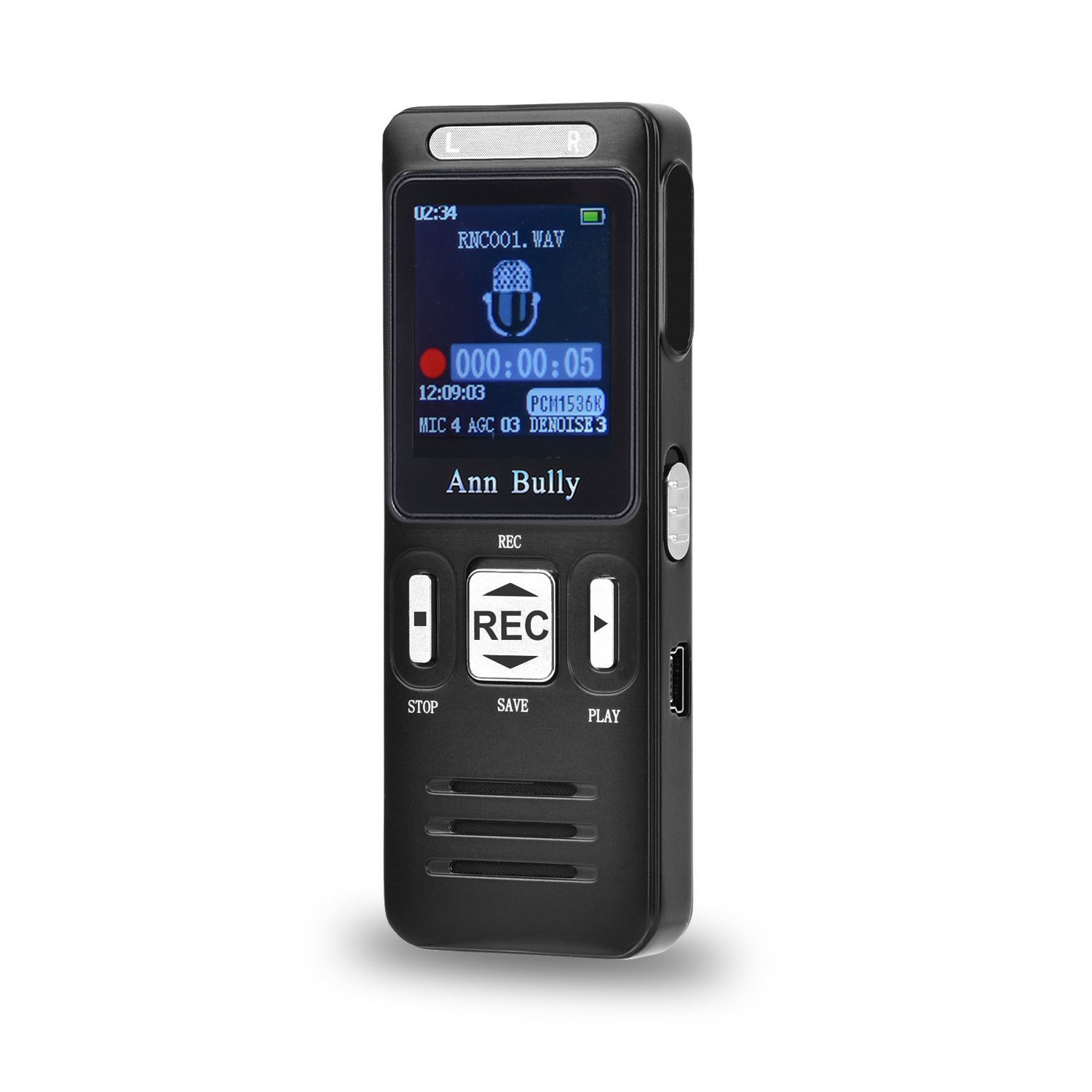 Voice Recorder AnnBully Digital Dictaphone MP3 Player Rechargeable 8GB 1536Kbps 560 hours with Mini USB Port Fast/Slow Playback A-B repeat functionality Voice activation