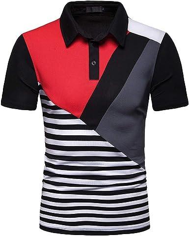Hot!Camisa Polo de Solapa, a Rayas, de Color a Juego, con ...