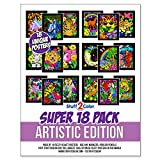 Stuff2Color Super Pack of 18 Fuzzy Velvet Coloring Posters (Artistic Edition)