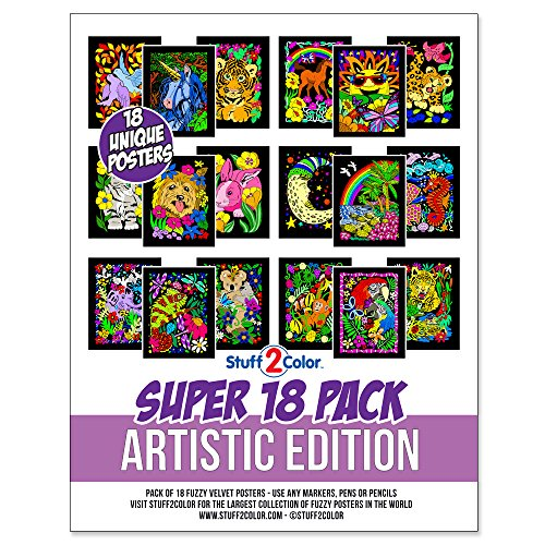 Stuff2Color Super Pack of 18 Fuzzy Velvet Coloring Posters