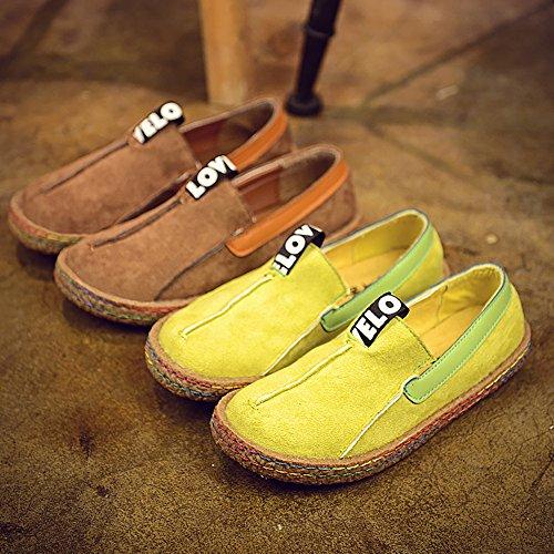 ALBBG-Leder-Boots-Mary-Müßiggänger-Reise-treibendes Plattform-breite Brown-Mädchens Frauen-Schuhe gehend Braun