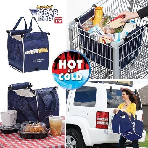 Price comparison product image 1 X ASOTV Insulated Reusable Grab Bag Grocery Shopping Tote Holds Up To 40 lbs