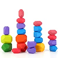 21 Pcs Stone Balancing Blocks- Colored Wooden Stones Lightweight Building Blocks Set Natural Rainbow Stacking Game Rock Blocks Educational Puzzle Toys for Toddlers Kids Children Boys Girls