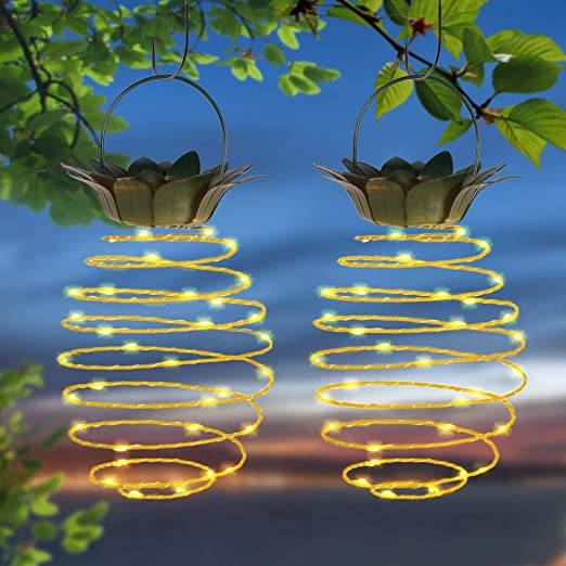 Sunboia Garden - Farol Solar para Colgar en el jardín, con Forma de piña, Alambre de Cobre,