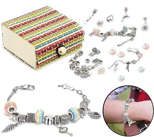 Rainbow Initial Charm /& Starter Bracelet Set L CHARM IT