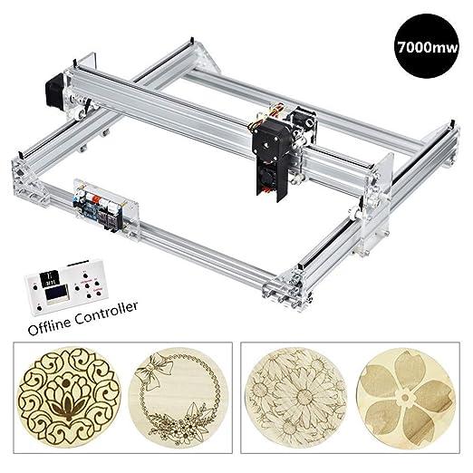 HUKOER 7000MW Máquina Láser Kits de Bricolaje 40×30 cm CNC Impresora de Logotipo Grabadora Láser para Cuero, Plástico, Madera, Bambú, Cuerno