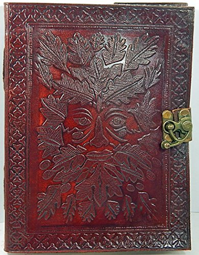 Barner Books Handmade 8 X 6 Leather Sketchbook with Latch Embossed Greenman  100% Recycled Paper