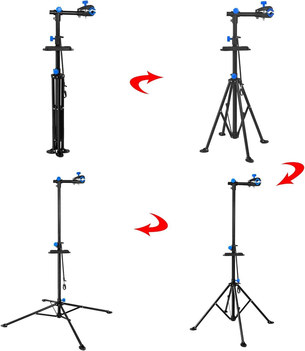 Schwarz Reparaturst/änder 360 Grad Drebar mit Werkzeugschale HEHS Fahrradmontagest/änder Klappbar mit Einstellbar Teleskopsst/änder 50 kg Belastbar