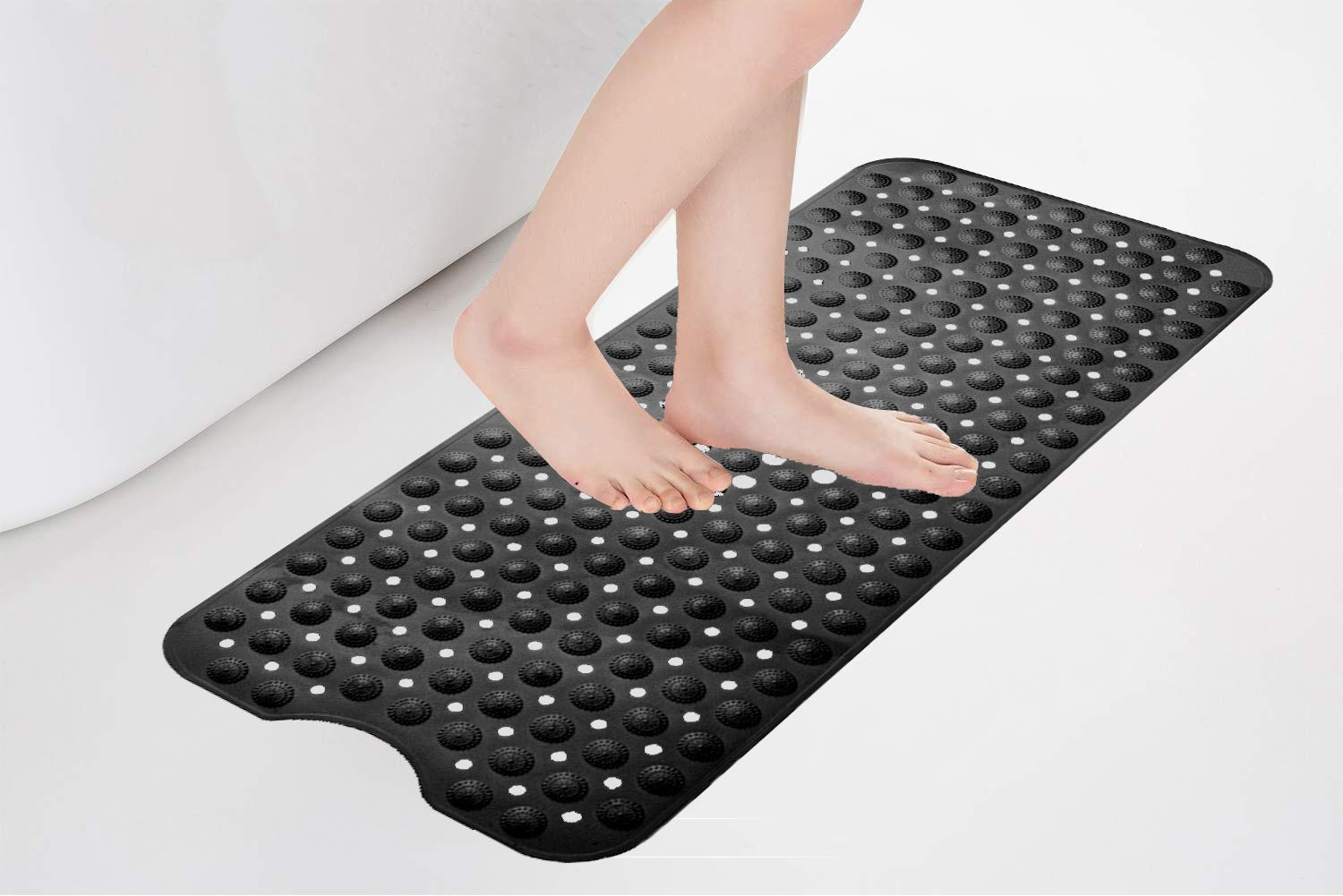 Safe Shower Mat with Drain Holes SONGZIMING Non-Slip Pebble Bathtub Mat Black 16 W x 35 L Inches Suction Cups for Bathroom for Smooth//Non-Textured Tubs Only