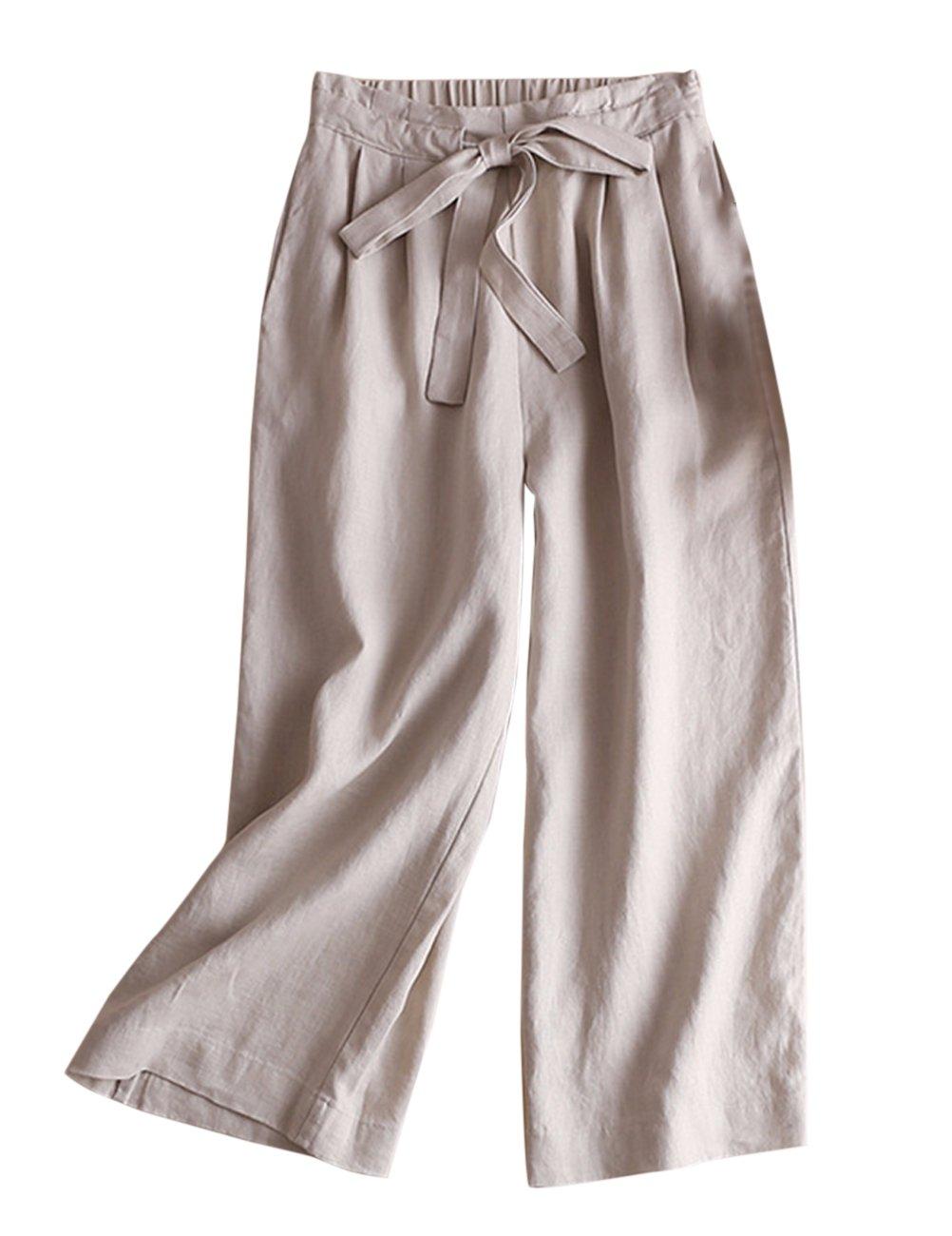 IXIMO レディース リネン ロングパンツ ワイド パンツ 無地 ウェストゴム ドロスト プリーツ入り ゆったり カジュアル きれいめ ワイドパンツ ズボン 6色展開 B07CG3WQ94 LL|カーキ カーキ LL