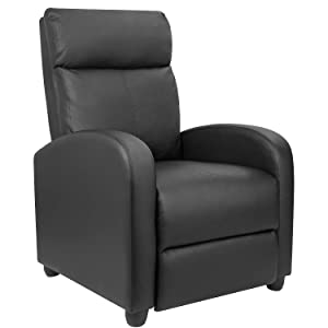 Furniwell Recliner Chair Home Theater Seating Wing Back PU Leather Modern Single Living Room Reclining Sofa with Footrest (Black)