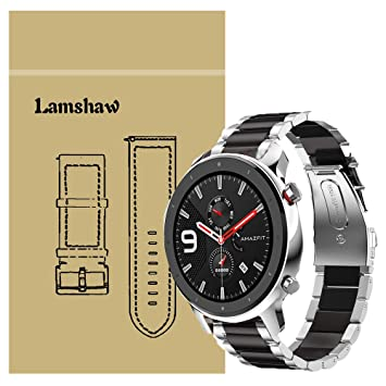 Ceston Metalica Acero Clásico Correas para Smartwatch Amazfit GTR (47mm, Negro & Plata)