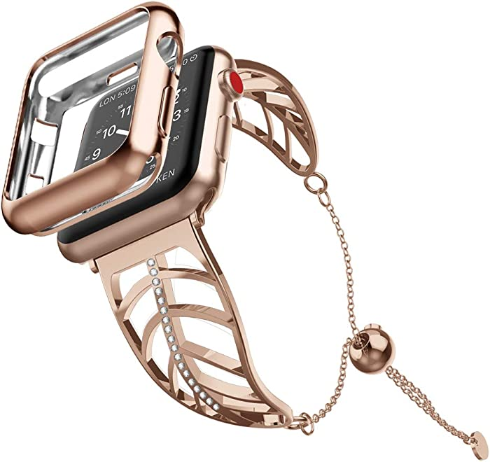 UooMoo Women Bracelet Compatible with Apple Watch Band 38mm/40mm/42mm/44mm, Stainless Steel Metal Strap Jewelry Wristband Bangle Chain Compatible fou Apple iWatch SE apple watch band series 6 5 4 3 2 1