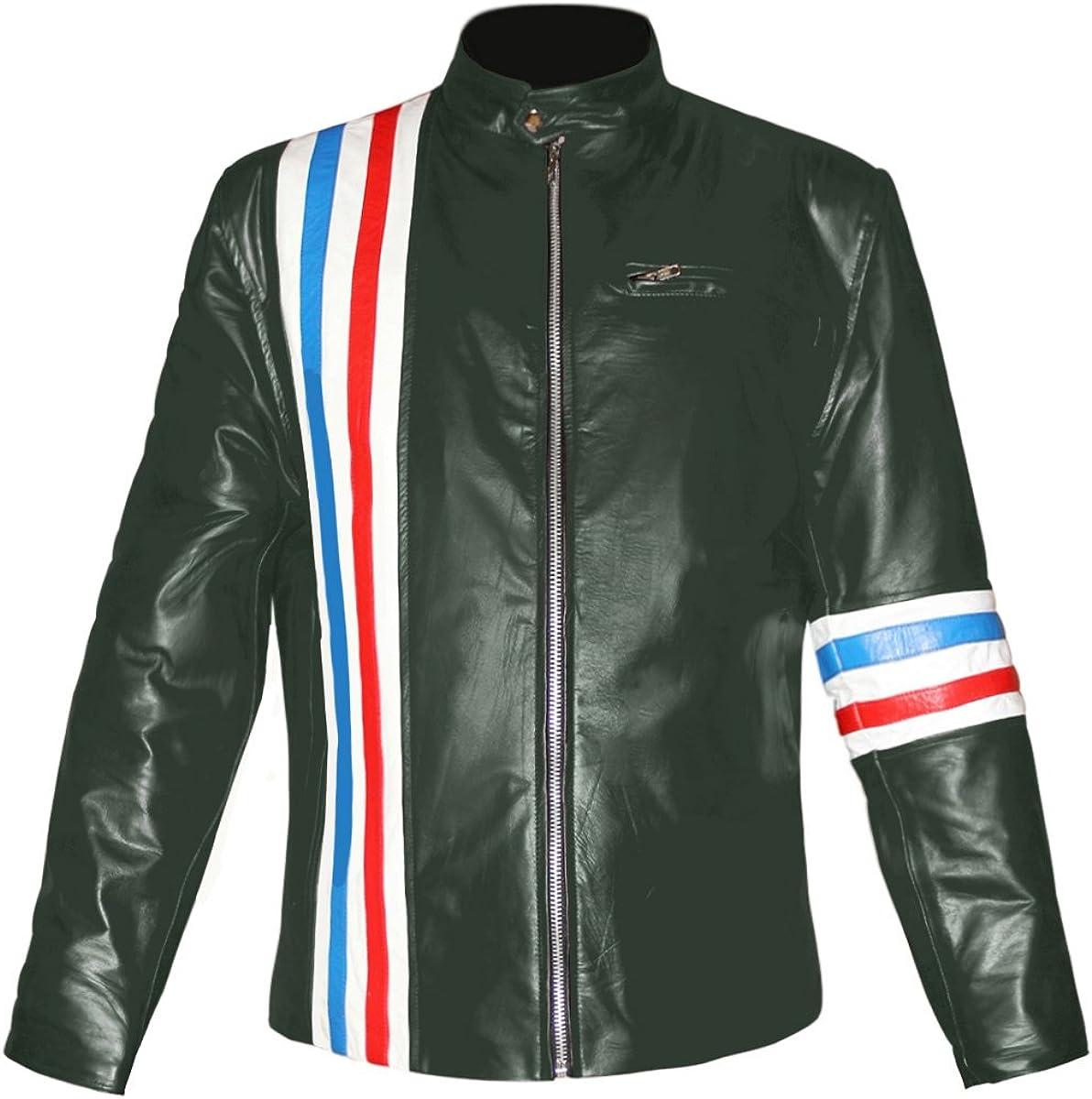 Peter Fonda Genuine Leather Easy Rider Stylish Bomber Biker Jacket with US Flag