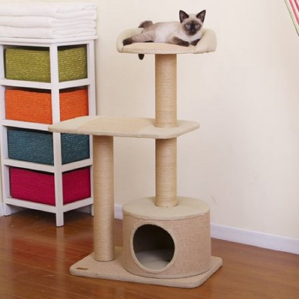 PetPals Group Pillar Paper and Jute 3 Levels Condo with Lookout
