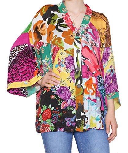 - Sacred Threads Patchwork Kimono Blouse - SM Size #218193