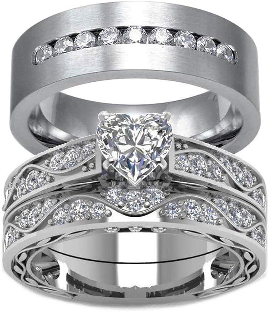 Crown Wedding Rings Set Antique Wedding Rings Set Unique Art Deco Wedding Rings Set Womens Cocktail Rings Set Amethyst Rings Set