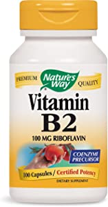 Nature's Way Vitamin B2, 100 mg Riboflavin,100 Capsules