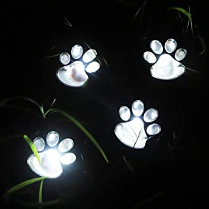 Solar Paw Print Lights Outdoor Decorative, Solar Garden Lights Dog Puppy Pet Cat Decor for Animal Lovers Lamp for Outside, Landscape, Yard, Pathway, Patio, Walkway (Set of 4 White Paws)