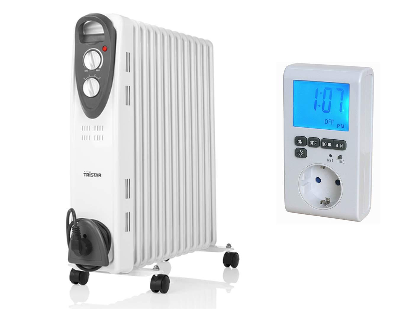 2500W Tristar Elektroheizung mit Rollen, 13 Rippen, regelbarer Thermostat, Zeitschaltuhr