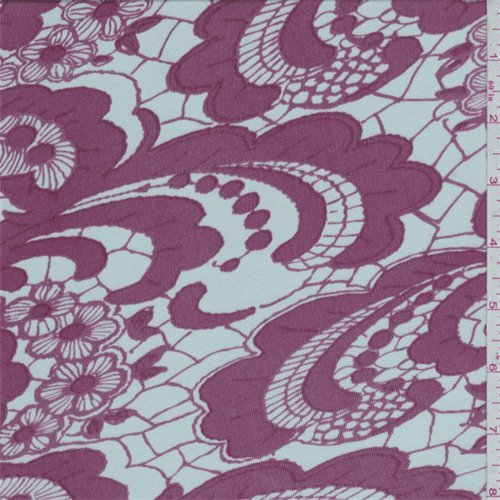 Pearl Grey/Berry Pink Lace Print Silk Jersey Knit, Fabric By the Yard - Knit Fabric Silk Jersey