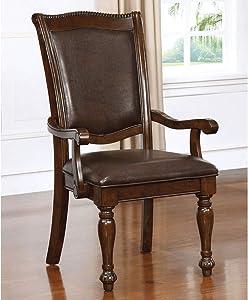 Furniture of America CM3350AC-2PK Alpena Arm Chair Brown