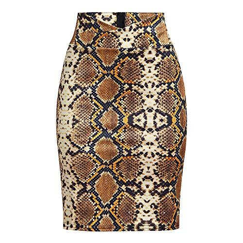 Zainafacai Sexy Bodycon Sexy Fall & Winter Snake Skirt Crop High Waist Skinny Career Office Midi Pencil Skirt (L, Gold) (Pencil Fur Skirt)