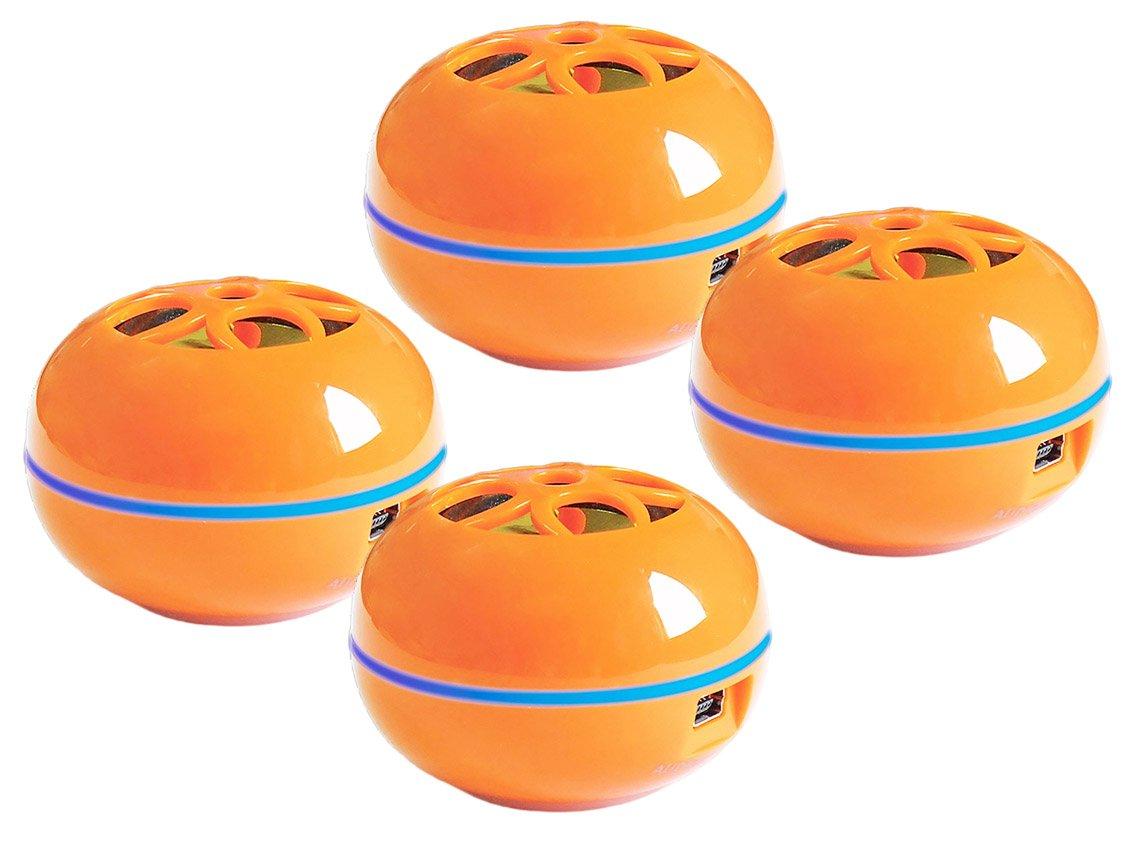GrandmaxのセットTweakers Teenyポータブルスピーカー – Comes With 3.5 MMオーディオプラグ、Connects to iPod、iPhone、最も人気オーディオデバイス – LEDライトリムと充電ステータスIndication, 4, オレンジ B07D9V7LRZ オレンジ 4