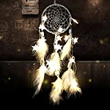 Mofeng DIY Dream Catcher with Fairy Star Led Battery Powered Wall Hanging Ornaments for Wedding Party Holidy Bedroom Decoration