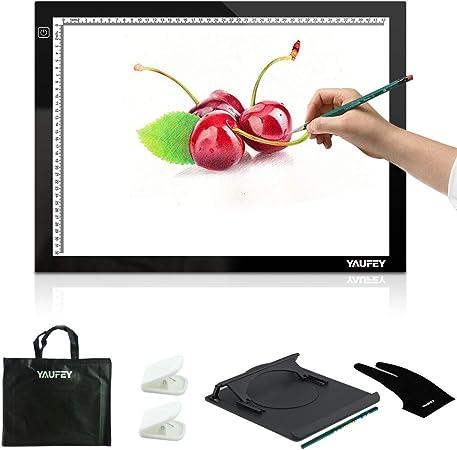 yaufey® LED artista Stencil Junta caja de luz de pantalla de cuadro de tatuajes dibujo), negro, A3: Amazon.es: Hogar