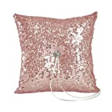 Ivy Lane Design Elsa Shiny Sequin Ring Pillow, Mauve