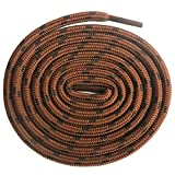 DELELE 2 Pair Non-slip Outdoor Mountaineering Hiking Walking Shoelaces Round Red Brown Black String Rope Boot Laces Strong Durable Bootlaces-62.99'