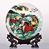 Cheap All Decor Beautiful Home & Office Decor Accent – 10″ Chinese Fine Porcelain Decorative Plate Horses