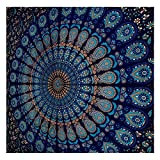 GLOBUS CHOICE INC.. Blue Tapestry Wall Hanging Mandala Tapestries Indian Cotton Bedspread Picnic Bedsheet Blanket Wall Art Hippie Tapestry
