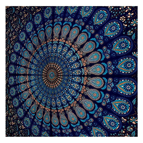 GLOBUS CHOICE INC. Blue Tapestry Wall Hanging Mandala Tapestries Indian Cotton Bedspread Picnic Bedsheet Blanket Wall Art Hippie Tapestry (Arabian Nights Wall Art)