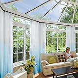 Macochico Outdoor Indoor Gradient Ombre Sheer Curtains Pinch Pleat Sky Blue Light Voile Drapes Privacy Protection for Bedroom Living Room Cabana Gazebo Pergola Porch 100W x 84L (1 Panel)