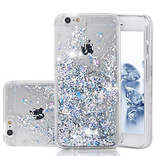 iPhone 6 Case, iPhone 6S Case, Liquid Case, Asstar Fashion Creative Design Flowing Liquid Floating Luxury Bling Glitter Sparkle Diamond Hard Case for For Iphone 6 / Iphone 6S (Silver) (Silver Liquid Leather)