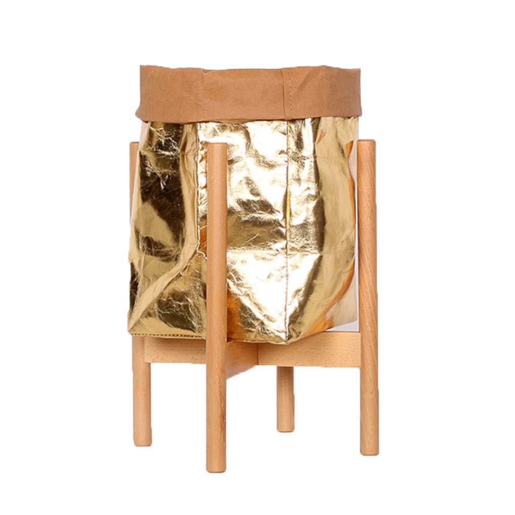 Nordic Legno Cornice Fiore Pot oroen Kraft Carta Cestino Indoor Creativo Storage Bag Flower Pot mensola Decorazione,A